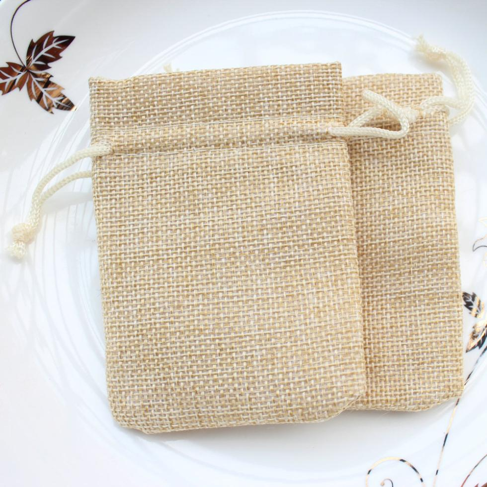 Us 16 39 25 Off 50pcs 7cmx9cm Small Burlap Bags With Drawstring Wedding Birthday Favor Thank You Rustic Jute Gift In Jewelry