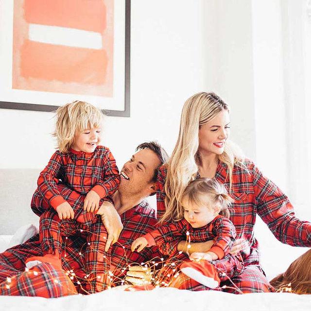 3674837fee Hot Family Matching Christmas Pajamas Set Women Baby Kids Sleepwear  Nightwear Outfits Autumn Winter Warm Pajama