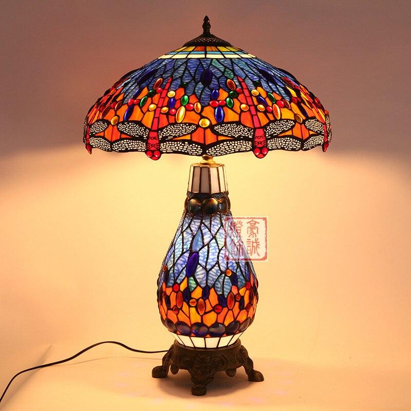 Современный европейский стиль ретро настольная лампа Тиффани гостиная кабинет спальня теплый свет цветной глазурью настольная свет za1115944