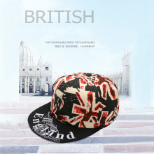 2019 new hip hop hat British flag rice European and American baseball cap hip-hop flat Iron tower