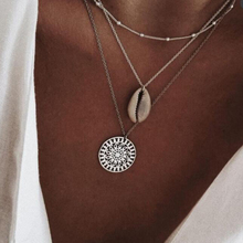 Tocona Vintage Round Sun Shell Hollow Pendant Layered Necklace For Women Girl Boho Beach Silver Color Bead Jewelry Collar 3395 stylish layered round pendant necklace for women