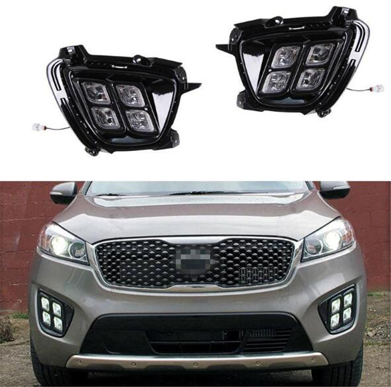 Four eye mode LED daytime running lights car styling For Kia Sorento 2016 fog lamps led DRL leadtops car led lens fog light eye refit fish fog lamp hawk eagle eye daytime running lights 12v automobile for audi ae