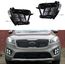 Four eye mode LED daytime running lights car styling For Kia Sorento 2016 fog lamps led DRL