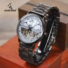 BOBO BIRD reloj masculino de madera para hombre, reloj masculino de lujo, con cronógrafo militar, de cuarzo, regalos geniales