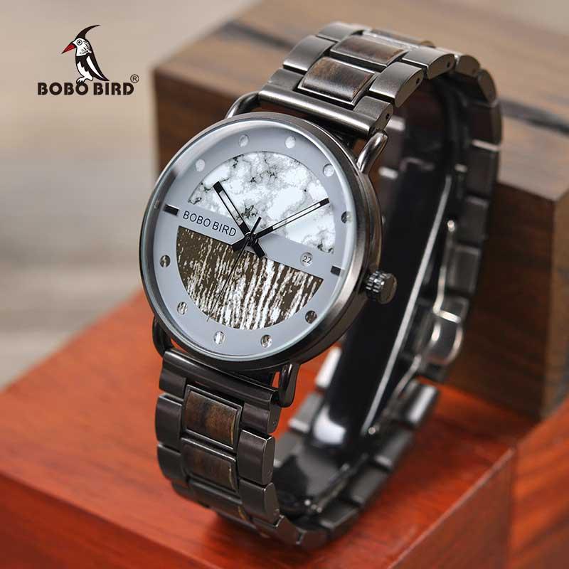Relogio masculino BOBO ptak nowych mężczyzna zegarek luksusowy stylowe drewniane zegarki Chronograph wojskowy kwarcowy zegarki męskie wspaniałe prezenty