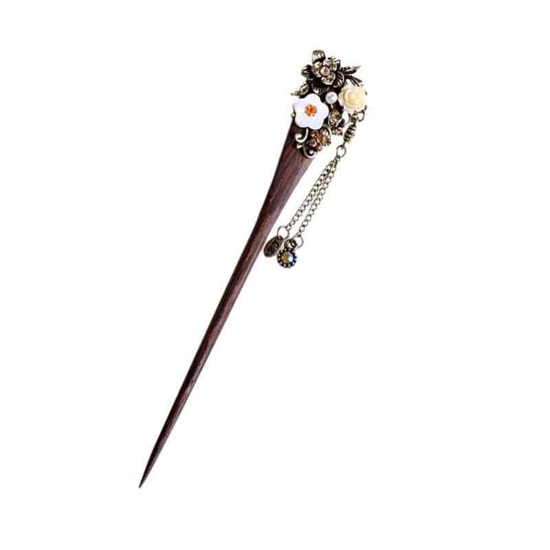 Стильные деревянные палочки для волос винтажные волосы бронзового цвета булавка традиционный цветок шпилька для укладки женских волос модные аксессуары для волос