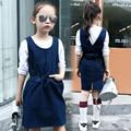 2016 осень детская одежда девушки платья твердые рукавов девочка джинсовые платья для девочек детская мода ремень платье
