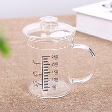 Термостойкая стеклянная мерная чашка детская для молока весы