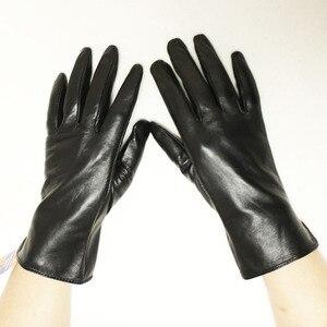 Image 5 - Кожаные перчатки goatskin, женские тонкие перчатки с сенсорным экраном, прямые, без подкладки, 100% овечья кожа, уличные перчатки для вождения