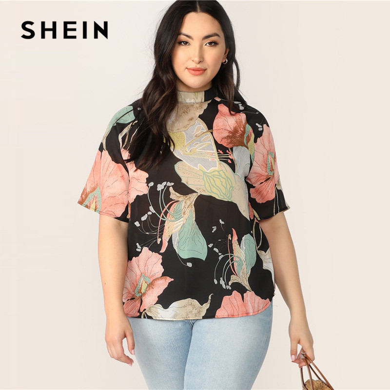 SHEIN Plus Size Multicolor Mock-Neck Keyhole Back Floral Print Top Blouse Women Summer Boho Button Stand Collar Blouse Shirt