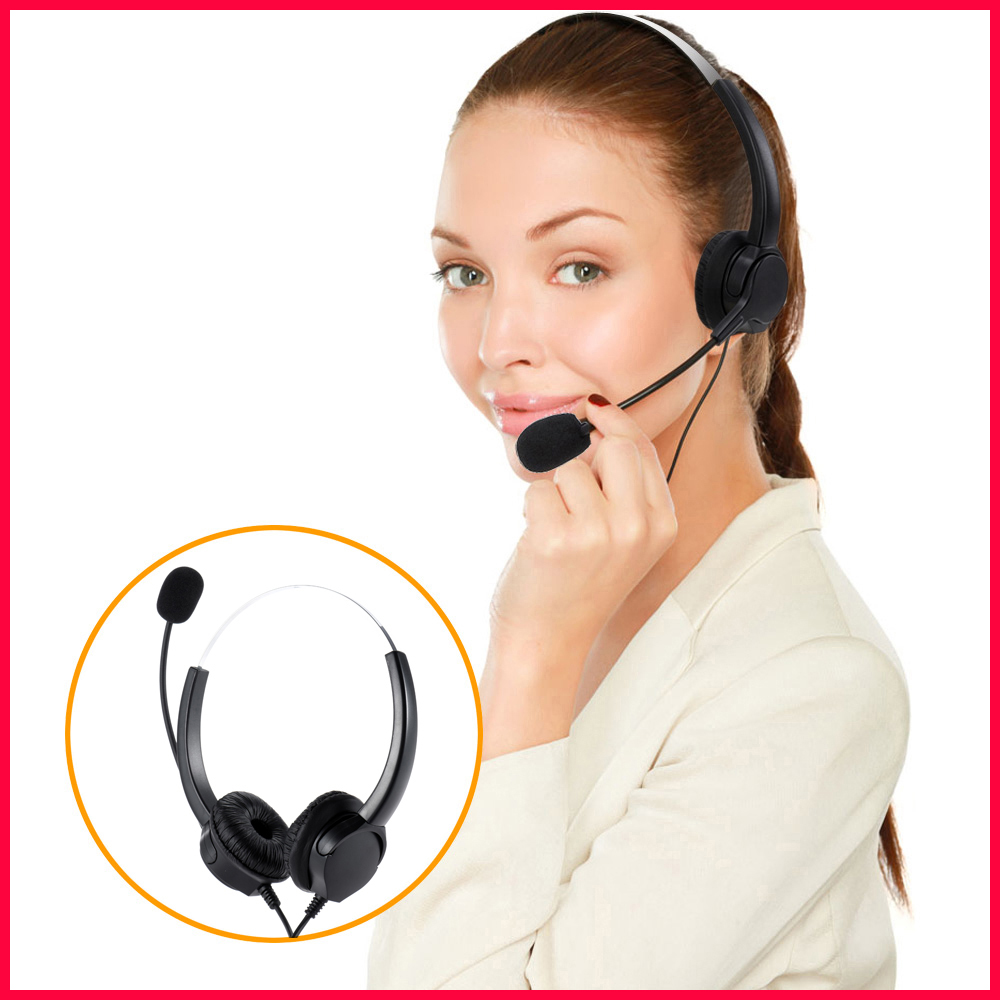 New Professional Telephone Headset Clear Voice Noise Cancellation Call Center Binaural Headphone Corded Headset with Micphone