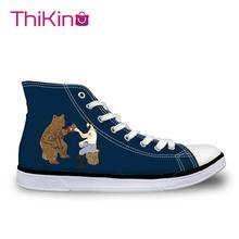 Thikin High Top Canvas Shoes for Teenager Russian Bear Women Casual  Sneakers Lace-up Flats Espadrilles