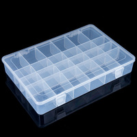 Hot Sale New Practical Adjustable Plastic 24 Cells Compartment Storage Box Case Beads Rings Jewelry Display