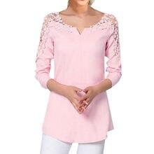 5934c9b4dcc Женская модная однотонная розовая Молодежная кружевная рубашка с v-образным  вырезом