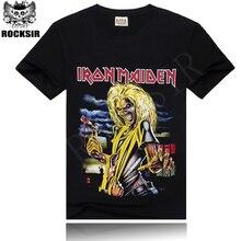 ROCKSIR Hot sale 100% cotton men's black T-shirt tee shirt men iron maiden rock t-shirt  free shipping