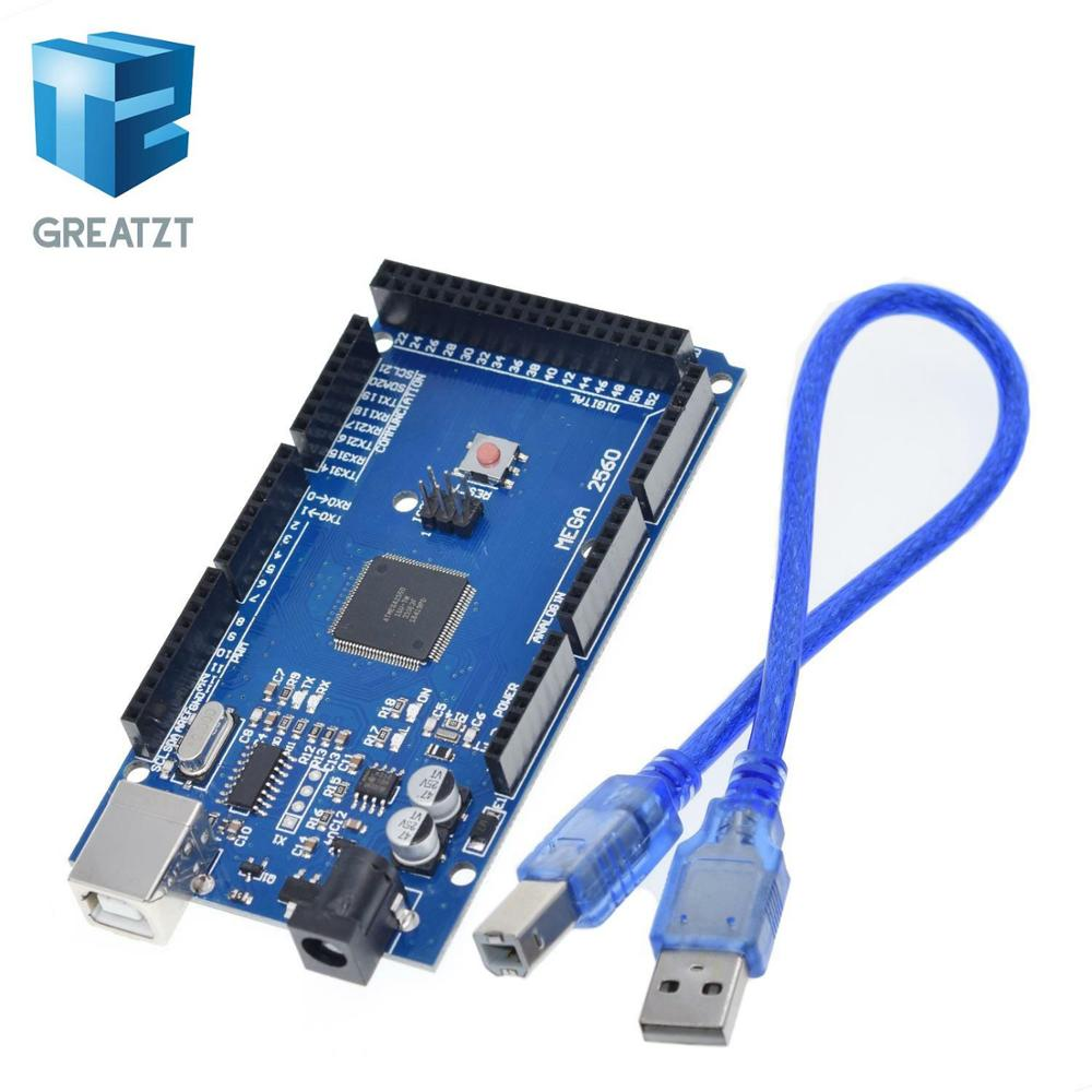 GREATZT Mega 2560 R3 Mega2560 REV3 (ATmega2560-16AU CH340G) Board ON USB Cable Compatible For Arduino [With USB Line]