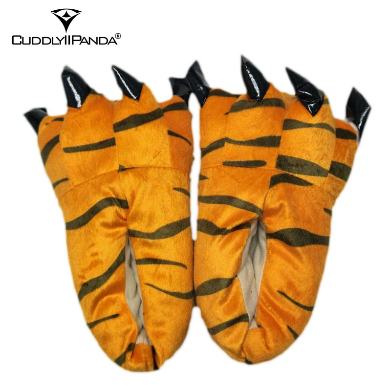 CuddlyIIPanda 2018 Hot Funny Animal Paw Slippers Cute Monster Claw Slippers Cartoon Slipper Warm Soft Plush Winter Indoor Shoes winter warm soft indoor floor slippers women men children shoes paw funny animal christmas monster dinosaur claw plush home