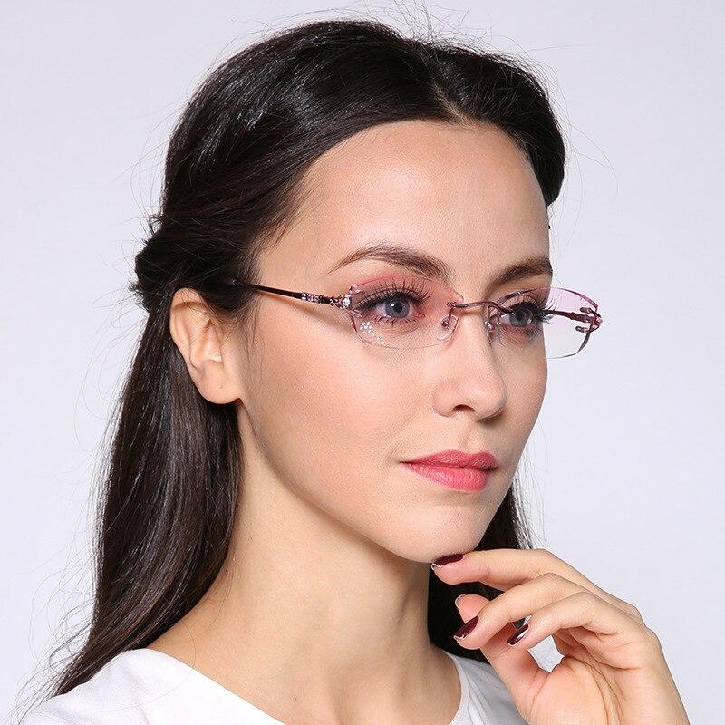 da3b8f98af Chashma Brand Eyeglasses Diamond Trimmed Rimless Glasses Titanium  Fashionable Lady Eyeglasses Spectacle Frames Women