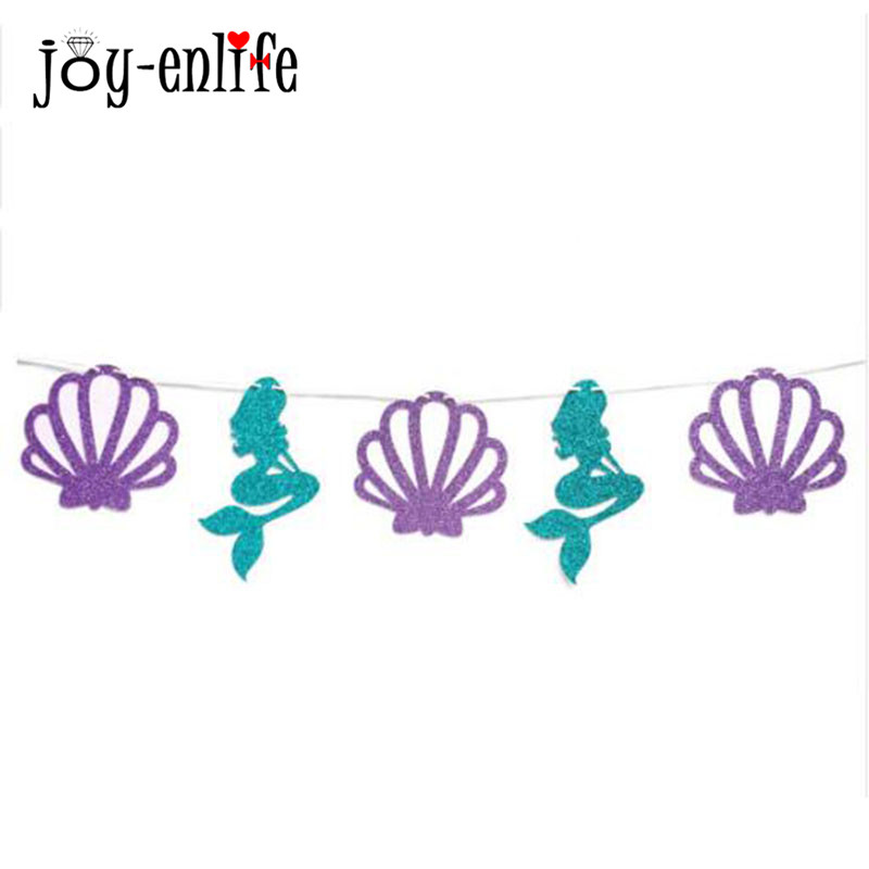 1Set ONE Happy Birthday Garland Mermaid Party Decoration Banner Summer Under Sea Party Children kids Baby Gender Reveal Flags