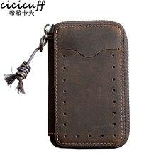 High Quality Men Genuine Leather Key Holder Wallet Zipper Housekeeper Women Case Bag Organizer Pouch