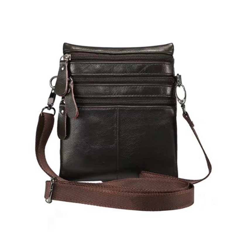 Genuine Leather Bag Men`s Shoulder Pocket Wallet Cell Phone Pouch Neck Strap For Mobile Phone Key Pouch Case double pocket mobile phone pouch arm bag with velcro strap black