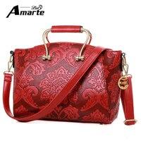 Amarte Винтаж Повседневное PU кожаная сумочка новый модные женские туфли сумка женская Клатчи известный Сумки на плечо для работы в офисе