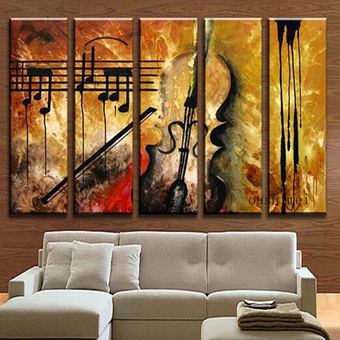Buy hand painted music paintings for for Painting wall designs for living room