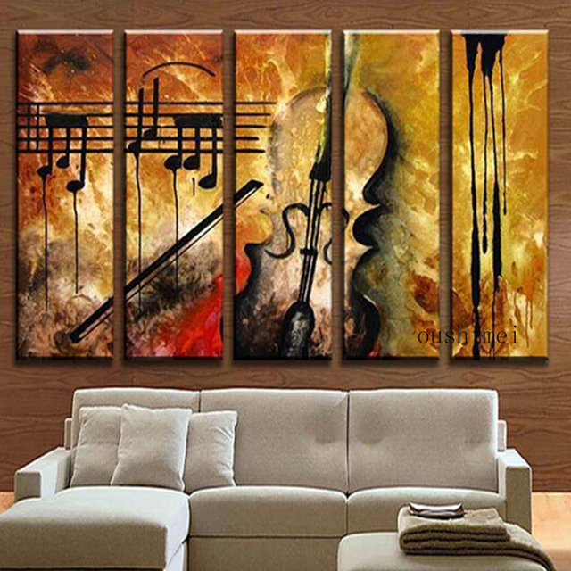 Buy Hand Painted Music Paintings For Living Room Decor Wall Art Abstract Oil