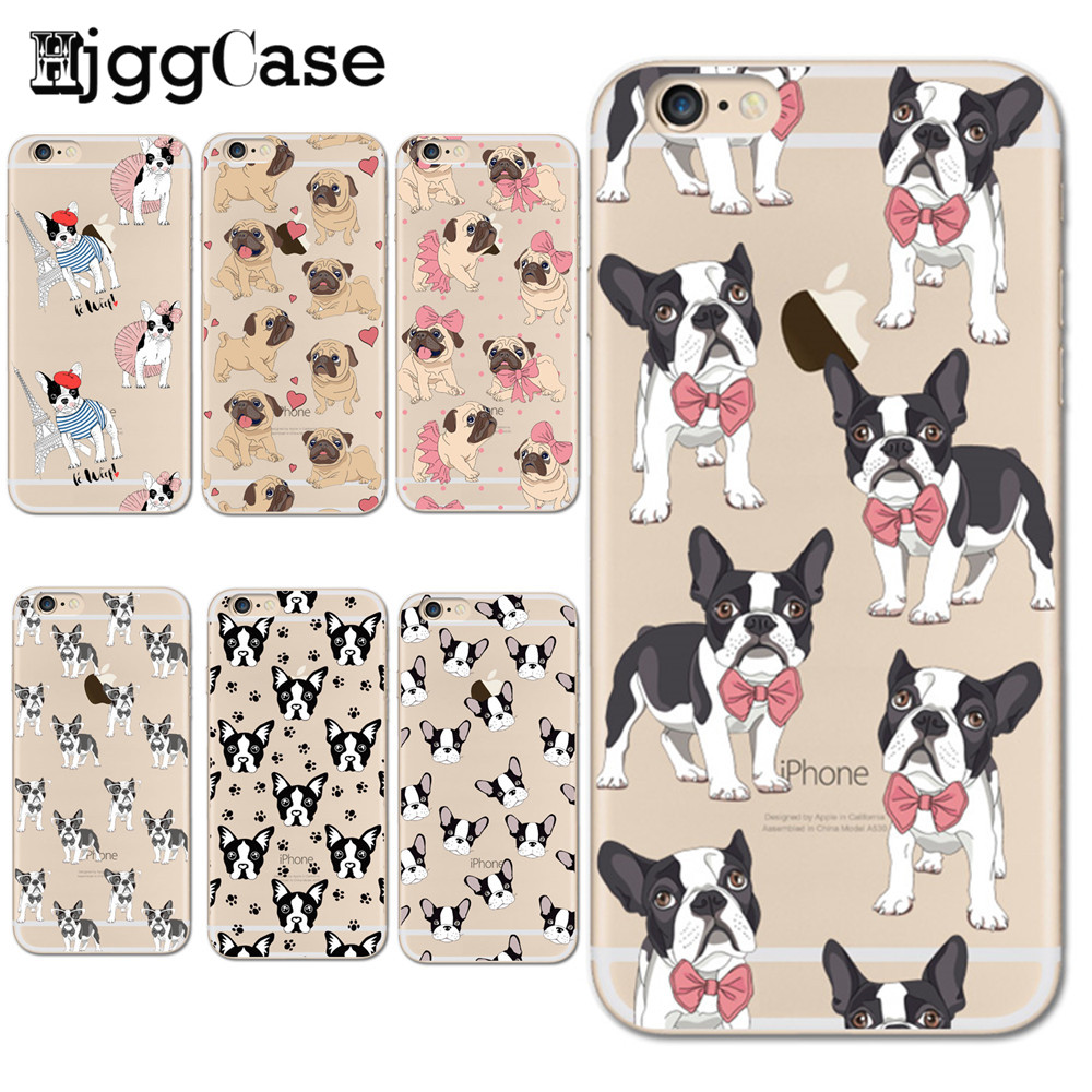 Cute Puppy Mops Telefonabdeckung für <font><b>iPhone</b></font> 6 S Weicher TPU Fall für <font><b>iPhone</b></font> 5 S SE 6 6 S 7 8 Plus X Phone <font><b>Cases</b></font> Französisch Bulldog Shell Coque image