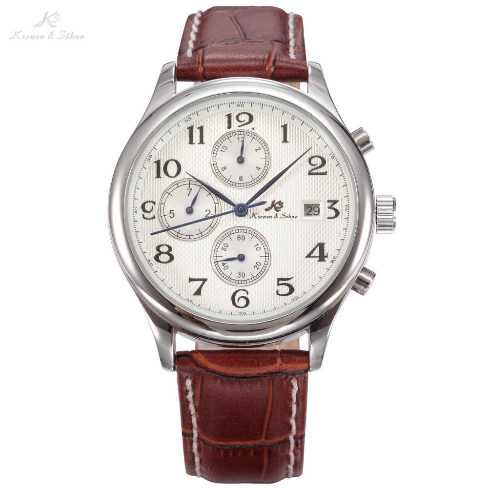 KS IMPERIAL Automatic 3 Dial 6 Hands Date Month Day Display Brown Leather Strap Men Business Dress Mechanical Watch Gift / KS154