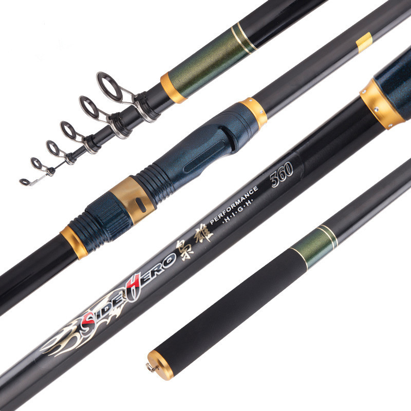 Carbon Fishing Rod Travel Telescopic Fishing Pole Spinning Saltwater Fishing Tackle Rods 2.1M-3.6M