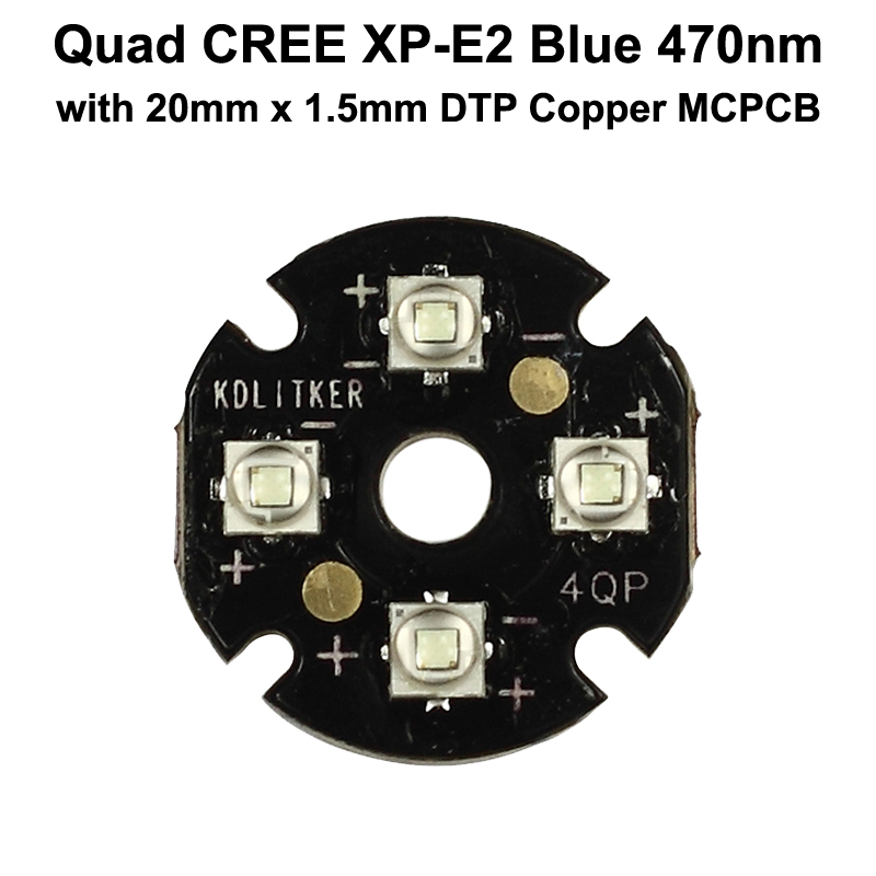 Quad Cree XP-E2 Blue <font><b>470nm</b></font> LED Emitter with KDLITKER 20mm x 1.5mm DTP Copper PCB (Parallel) w/ optics image