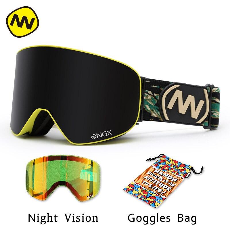 NANDN лыжные очки, очки для катания на лыжах, двойные линзы, UV400, анти туман, для взрослых, сноуборд, лыжные очки, женские, мужские, снежные очки - 6