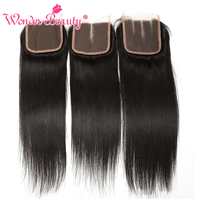 Wonder Beauty Non Remy Human Hair Peruvian Straight Lace Closure 4x4 Swiss Lace 8 22inchesmiddle Three
