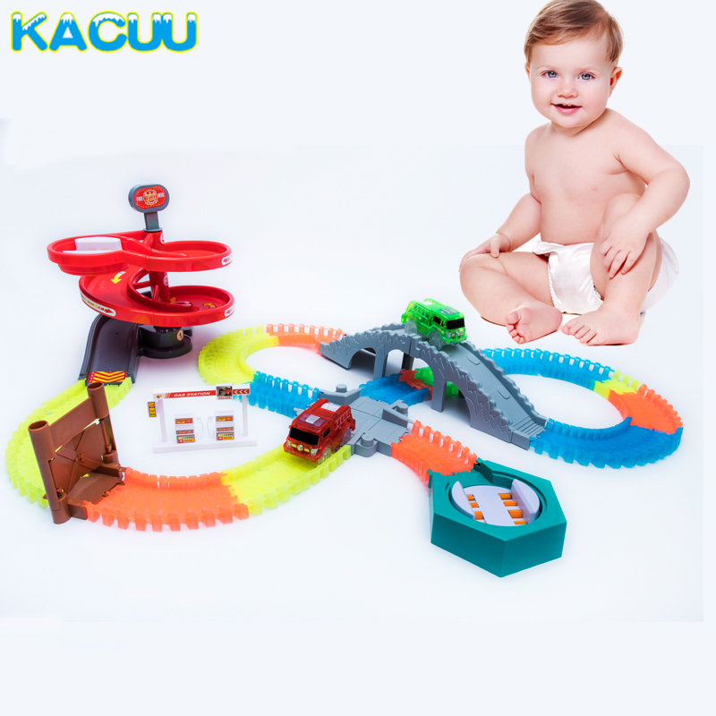 Magical Tracks For Funny Accessories Turntable Arch Bridge Crossroads For 7.5CM Glowing Race Tracks Creative Toy Gifts For Kids