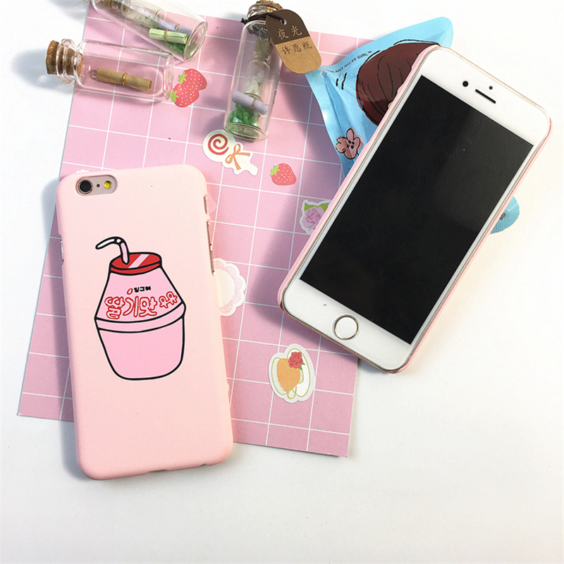 Cute Pink Milk Box Case For Iphone 6 6s Plus 7 8 Plus Cell Phone