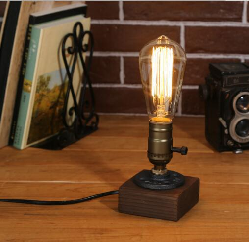 Loft Desk Lamp Wood Edison Bulb American Industry Retro Personality Wood Table  Lamp Bar Cafe Creative