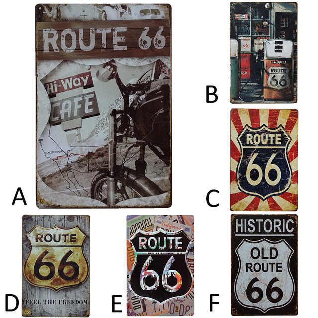 Route 66 Patterned American Retro Metal Bar Poster