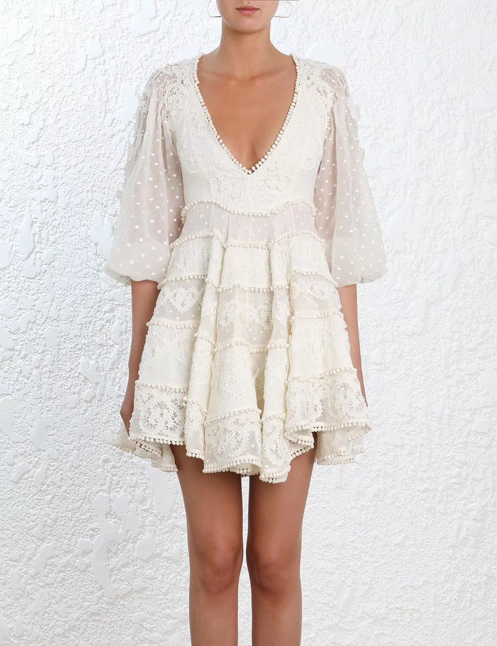 Women Linen Dot Embroidery Painted Heart Sun Dress V neck Cotton and Silk blend Lace Mini Dress