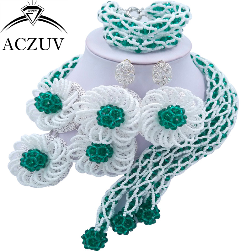 ACZUV Fashion Army Green and White Crystal Jewelry Set African Wedding Beads Nigerian Necklace Big Earrings Sets C3F019ACZUV Fashion Army Green and White Crystal Jewelry Set African Wedding Beads Nigerian Necklace Big Earrings Sets C3F019