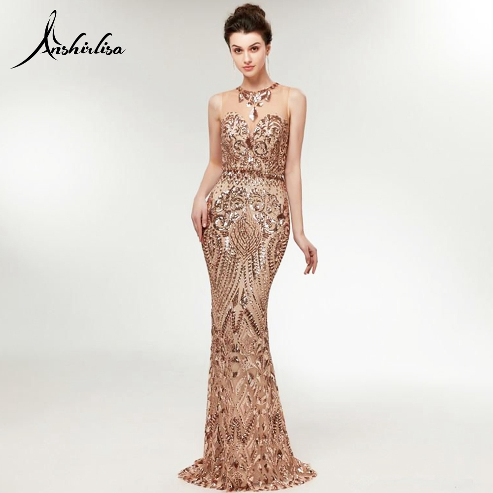 Anshirlisa Women Mermaid Gold Sequin Evening Dress Long Muslim Dubai Luxury Gorgeous Party Gown Formal O Neck Prom Dress Custom