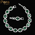 High Quality Full Big Round Connected Created Emerald Green Stone Women Link Chain Bracelet Jewelry With White Gold Plated B094