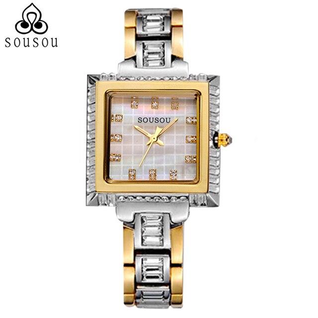 Элегантный Дизайн Часы Площади Montre Femme Дамы Браслет Смотреть Женщин Роскошные Золотые Relogios Feminino моды Dourado