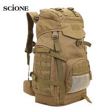Molle 60L Camping Rucksack Tactical Military Backpack Large Waterproof Backpacks Camouflage Hiking Outdoor Shoulder Bag XA281WA