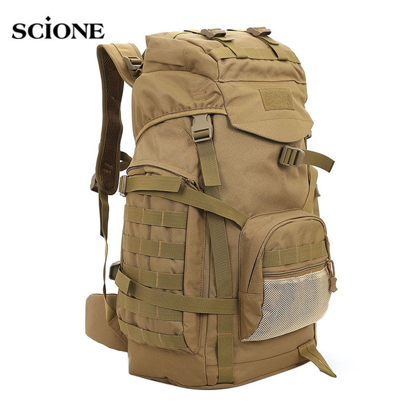 Molle 60L Camping Rucksack Tactical Military Backpack Large Waterproof Backpacks Camouflage Hiking Outdoor Shoulder Bag XA281WA