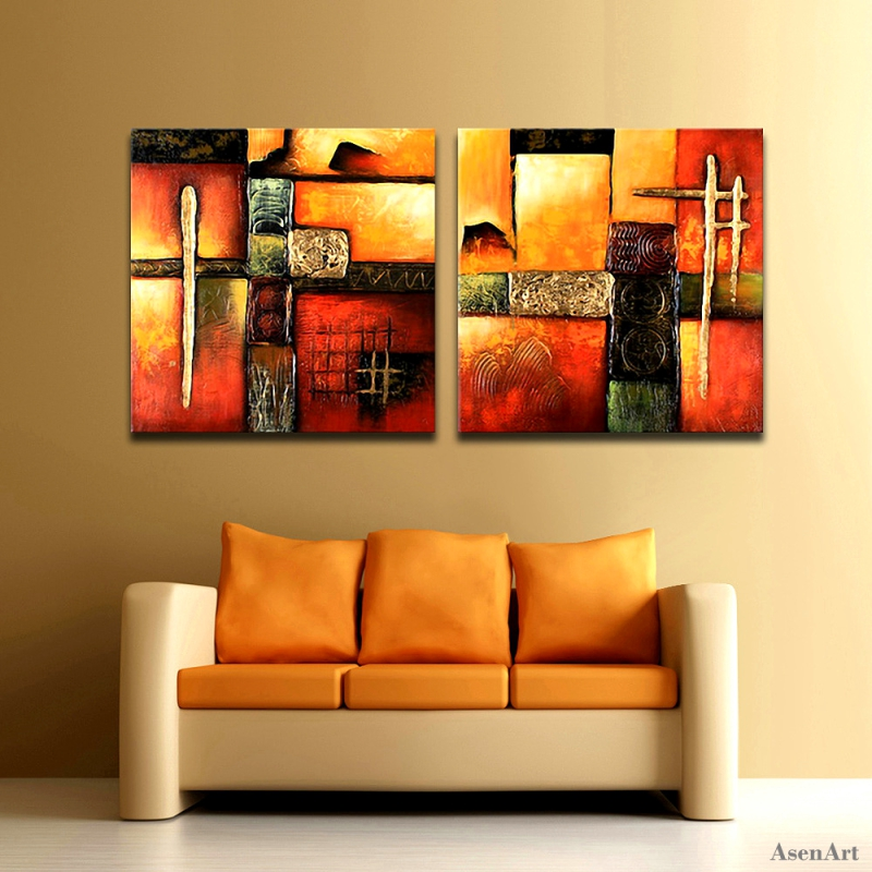 100 Hand Painted Abstract Oil Painting Original 2pcs