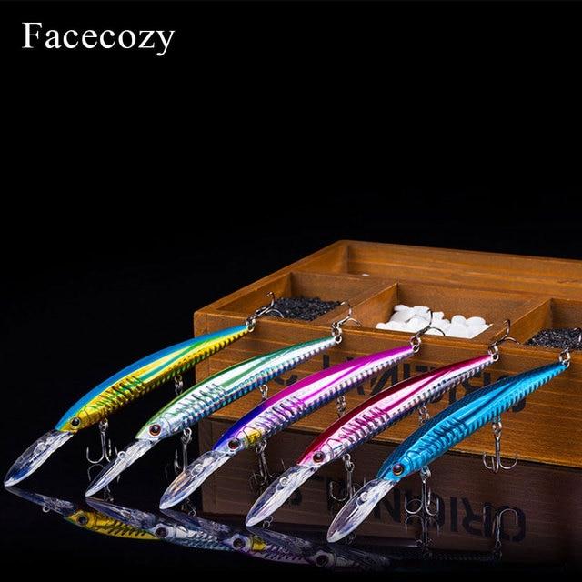 Facecozy bionic reflection 낚시 미노우 모양 인공 루어 브릴리언트 컬러 swimbait 낚시 하드 미끼 플로팅 크랭크