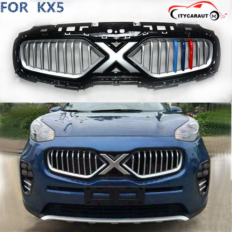 car protect detector stainless steel trim Front up Grid Grill Grille Around 1pcs FOR Kia Sportage KX5 2016 2017 top quality front racing grill grille car styling fit for new kia sportage kx5 2016 2017 front grill racing grill with free ship
