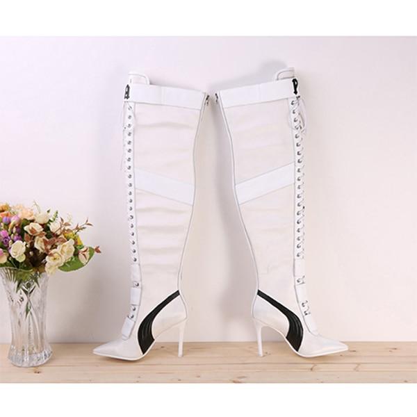 Nieuwe Designer Patchwork Lace Up Dij hoge laarzen voor Vrouwen puntige teen Hoge hakken lederen lange laarzen Over de knie ridder laarzen-in Over de knie laarzen van Schoenen op  Groep 3