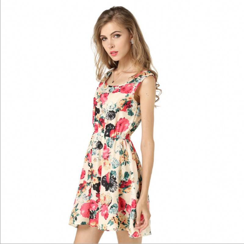 048d98ed4d2 2017 fashion new Spring summer plus size women clothing floral print pattern  casual dresses vestidos Sleeveless dresses -in Dresses from Women s Clothing  on ...